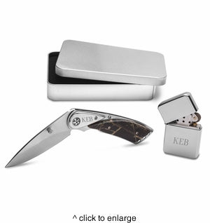 Camo Lock Back Knife and Lighter Gift Set