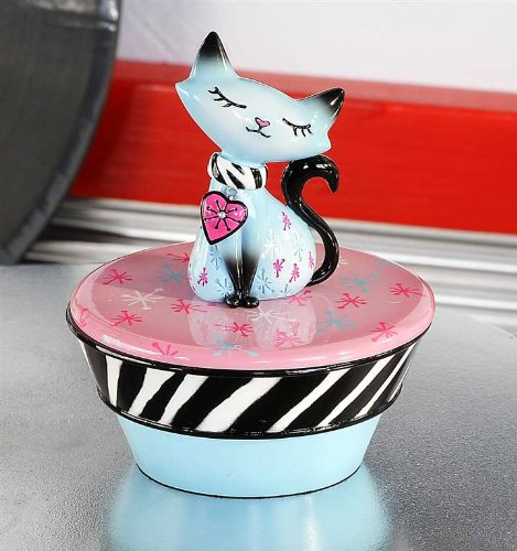 Retro Blue Cat Trinket Box