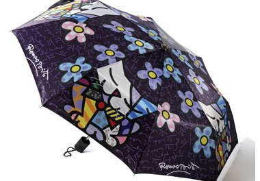 ROMERO BRITTO TRAVEL UMBRELLA- PURPLE WITH CATS & FLOWERS