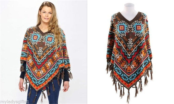Charlie Paige Turquoise/Brown Multicolored Aztec Poncho