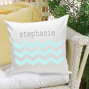 "Personalized ""Blue Chevron Patterned "" Throw Pillow"