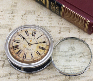 Vintage Clock Folding Magnifier/Paper Weight/Paperweight