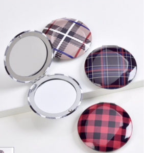 Plaid Designer Inspired Compact Mirror In 4 Assorted Plaids