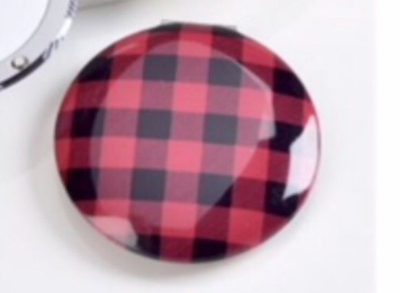 Plaid Designer Inspired Compact Mirror In Black & Red Checked