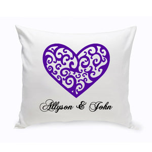 "Personalized Couples Unity ""Vintage Heart"" Throw Pillow"