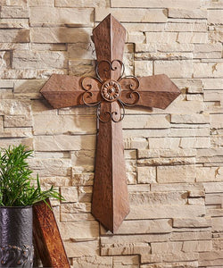 Brown Metal Wall Cross With Flower Center