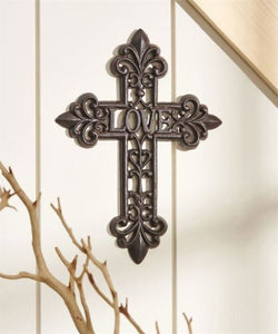 "Cast Iron Wall Cross With ""LOVE"" Center"