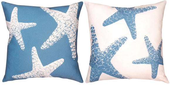 Nautical Starfish Indoor/Outdoor Pillows Set of 2