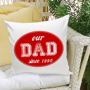 Personalized Dad Stamp Throw Pillow