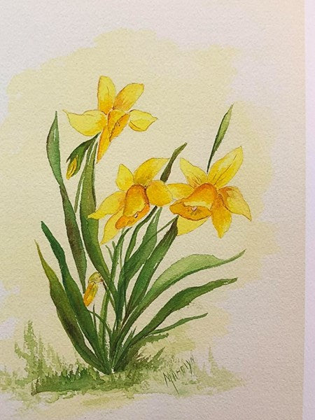 "Limited Edition Numbered Painting Print ""Daffodils A"""