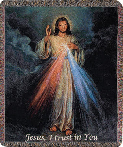 "DIVINE MERCY WITH ""JESUS, I TRUST IN YOU"" TAPESTRY THROW"