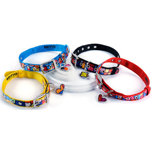 ROMERO BRITTO  DOG COLLAR YELLOW WITH CHARM