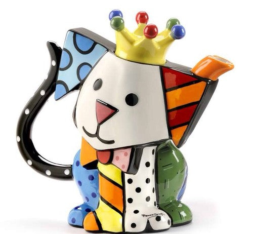 ROMERO BRITTO CERAMIC ROYALTY DOG SHAPED TEAPOT