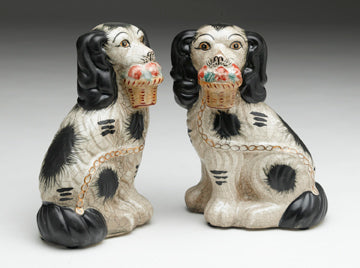 Staffordshire Reproduction Dog Pair With Baskets- Black with Crackled Finish