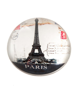 Glass Dome Vintage Paris Eiffel Tower Paper Weight/Paperweight