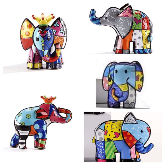 ROMERO BRITTO SET OF ALL 5 MINIATURE MINI ELEPHANTS