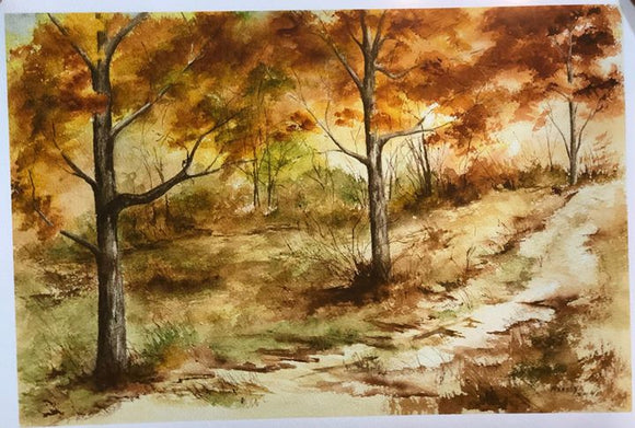 "Limited Edition Numbered Painting Print ""Fall Escape In The Woods"
