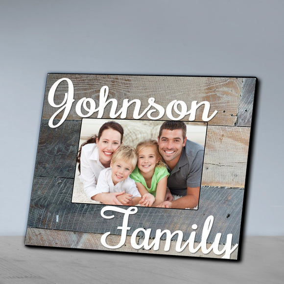 Personalized Family Wood Grain Grey Picture Frame