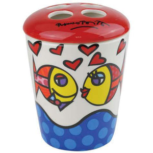 Romero Britto Toothbrush Holder- Deeply In Love Fish Design