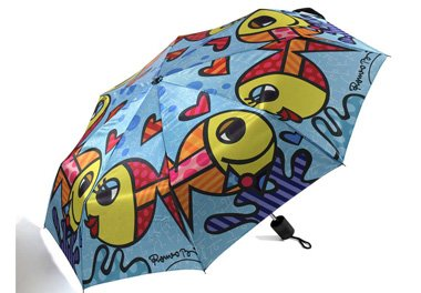 ROMERO BRITTO TRAVEL UMBRELLA- FISH WITH BLUE BACKGROUND