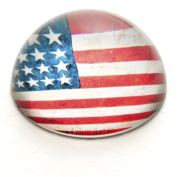 Glass Dome Vintage USA American Flag Paper Weight/Paperweight