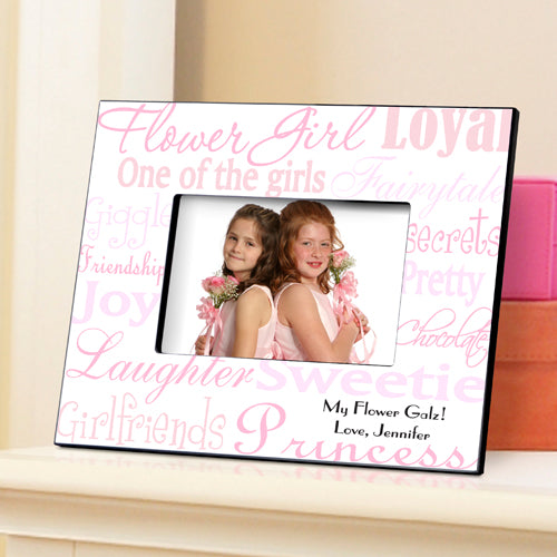Personalized Flower Girl Pink On White Frame