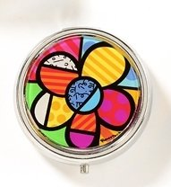 ROMERO BRITTO FLOWER PILL BOX W/ MIRROR & DIVIDERS