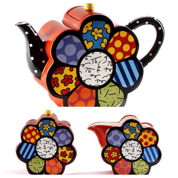 ROMERO BRITTO CERAMIC FLOWER SHAPED TEAPOT WITH MATCHING CREAM & SUGAR SET