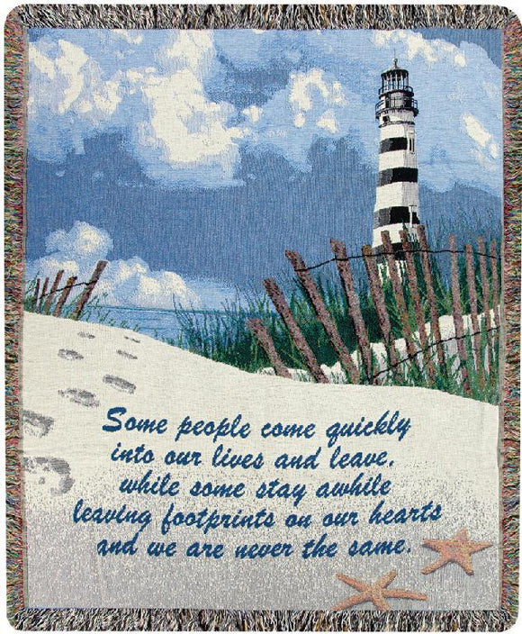 FOOTPRINTS ON THE HEART TAPESTRY THROW
