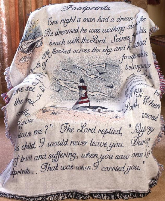 FOOTPRINTS IN THE SAND W/LIGHTHOUSE TAPESTRY THROW