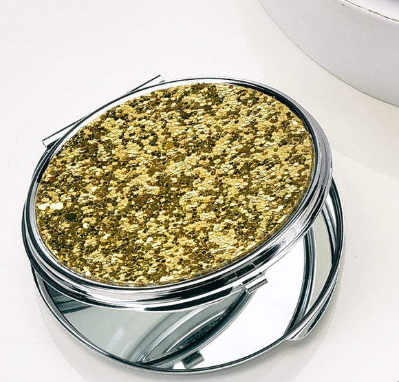 GLITTER GLAM DESIGN COMPACT MIRROR IN GOLD