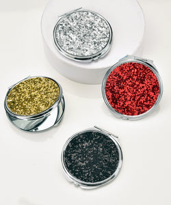 GLITTER GLAM DESIGN COMPACT MIRRORS, SET OF 4