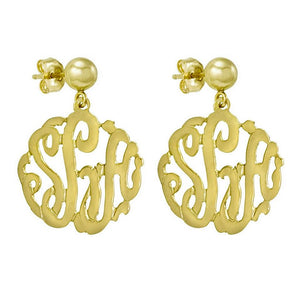 "5/8"" Monogram 14K Gold Script Cutout Earrings"