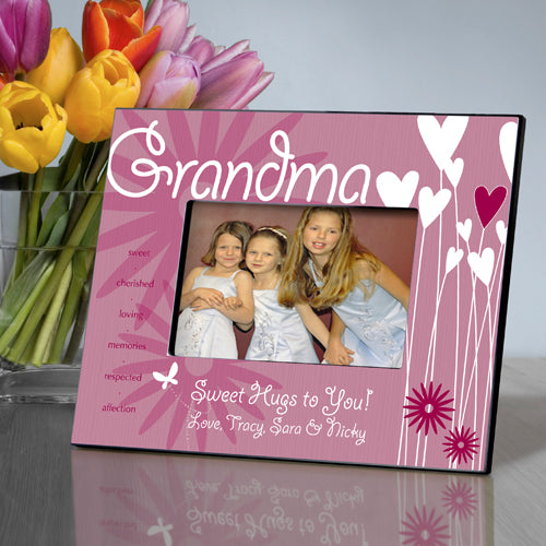 Personalized Grandma Hearts and Flowers Frame