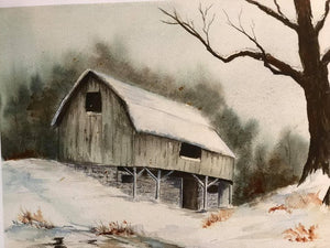 "Limited Edition Numbered Painting Print ""Gray Barn In Winter"""