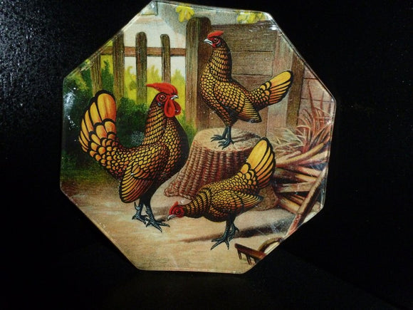 Goudlaken Hamburgers Roosters Octagon Decoupage Tray