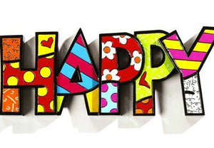 "ROMERO BRITTO ""HAPPY"" WORD ART"