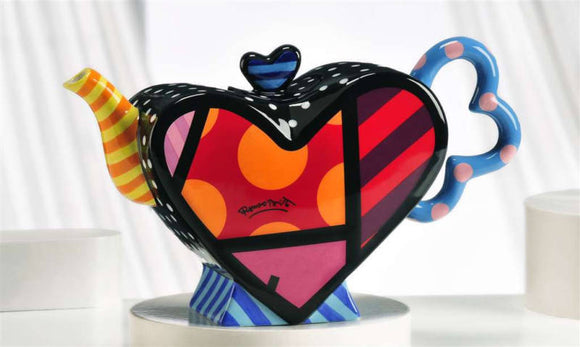 ROMERO BRITTO CERAMIC HEART DESIGN TEAPOT