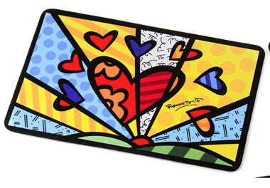 ROMERO BRITTO LARGE MAT WITH HEART DESIGN