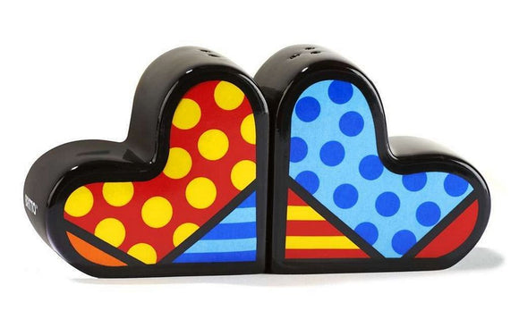 ROMERO BRITTO CERAMIC HEARTS SALT & PEPPER SHAKERS