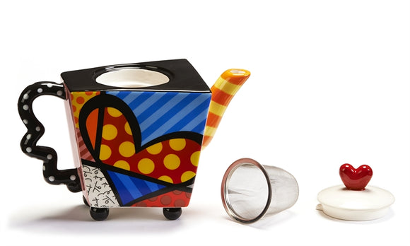 ROMERO BRITTO TEA INFUSER TEAPOT- HEART DESIGN