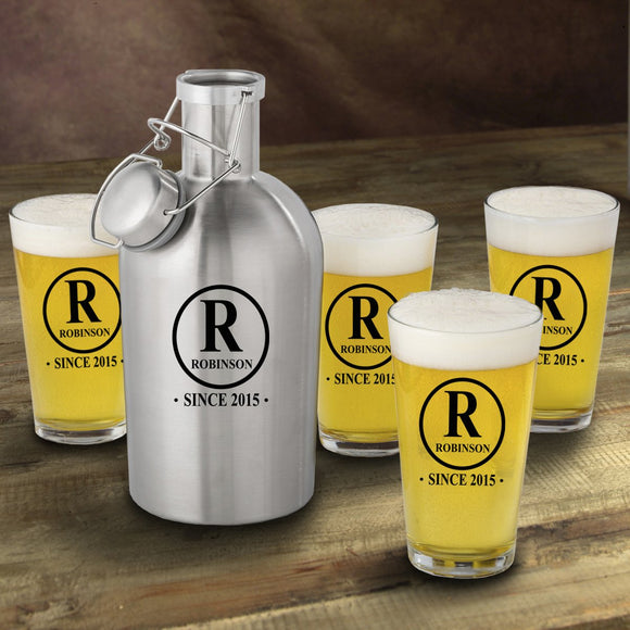 Personalized Stainless Steel Beer Growler with Pint Glass Set- Initial Design