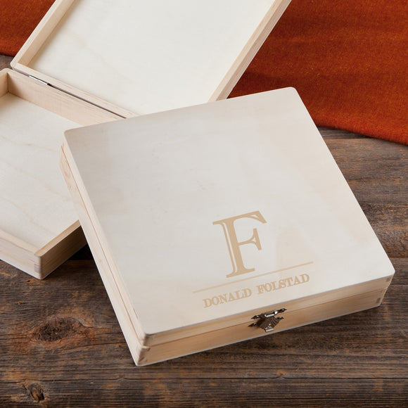 Wooden Keepsake or Cigar Box With Initial Design