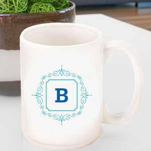 Initial Motif Coffee Mug In Blue