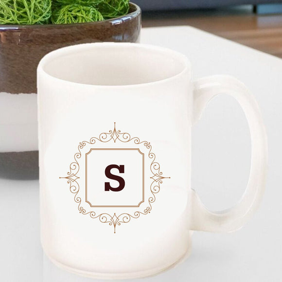 Initial Motif Coffee Mug In Brown