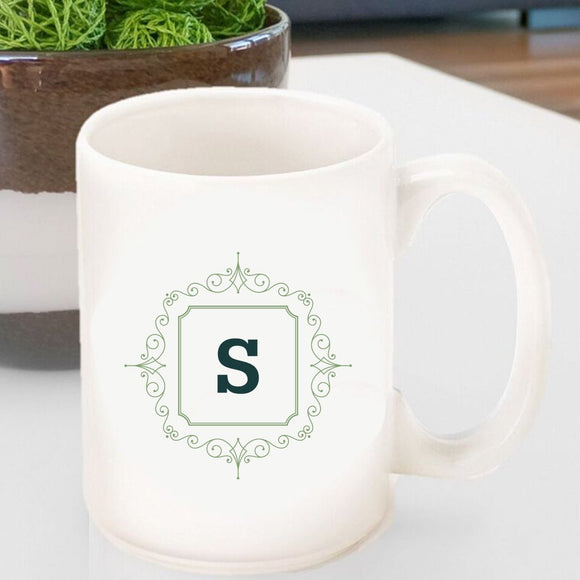 Initial Motif Coffee Mug In Sage Green