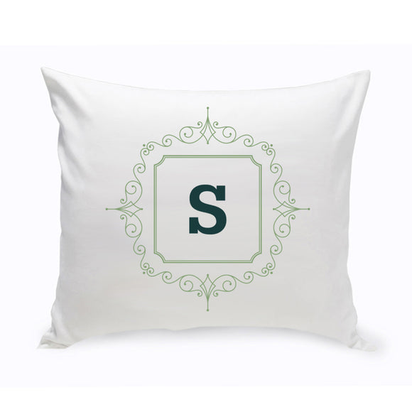 Personalized Initial Motif In Green Throw Pillow