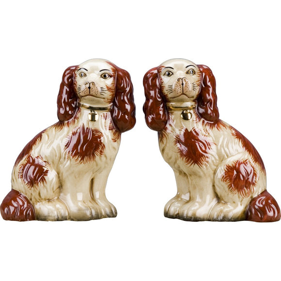 Staffordshire Reproduction Orange King Charles Spaniel Dog Pair Figurines