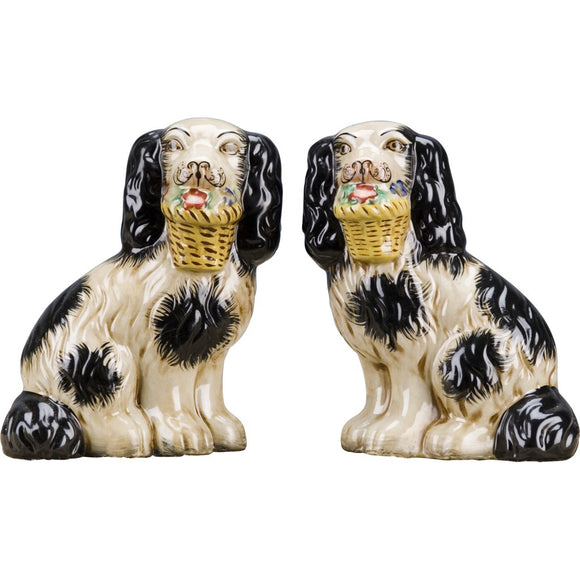 Staffordshire Reproduction Pair of Dog Figurines W/ Flowers In Mouth