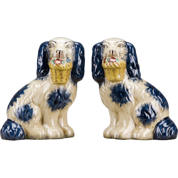 Staffordshire Reproduction Pair of Blue Dog Figurines W/ Flowers In Mouth